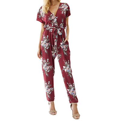 Women Floral Boho Workwear Jumpsuit  Short Sleeve Casual Loose Belt Playsuit