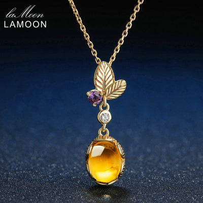 LAMOON 7x9mm 2ct 100% Natural Oval Citrine 925 Sterling Silver Jewelry Light Yellow Gold Color Chain Pendant Necklace LMNI010