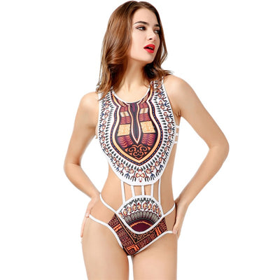 Print National Bodysuits Women One Piece Beach Body Suit feminino Patchwork Rompers Womens Jumpsuit T6