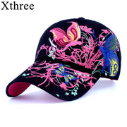 xthree High quality baseball hat cap Butterflies and flowers embroidery cotton caps Casual hats snapback cap fashion for  women