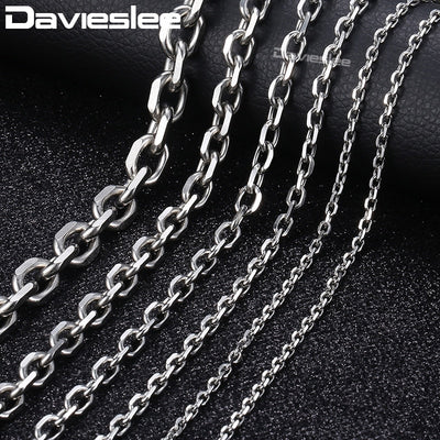 Mens Necklace Chain Stainless Steel Silver Tone Rolo Link Chains Necklaces for Men Jewelry Fashion 2/3/4/6/10mm LKNM31
