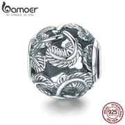 BAMOER Hot Sale 925 Sterling Silver Stackable Feathers Round Beads Charm fit Charm Bracelet & Necklaces DIY Jewelry SCC810