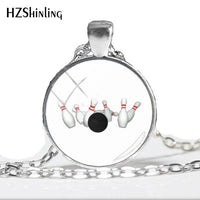2018 whole sale Bowling Strike Pendant Necklace ball Jewelry Glass Dome Photo Pendants Hand made Accessory Gifts For girl HZ1
