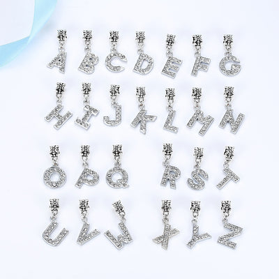 A-Z letter of the Alphabet With Crystal Bead Charm Silver Plated Pendant Beads Fit Pandora Bracelets & Bangles DIY Jewlelry