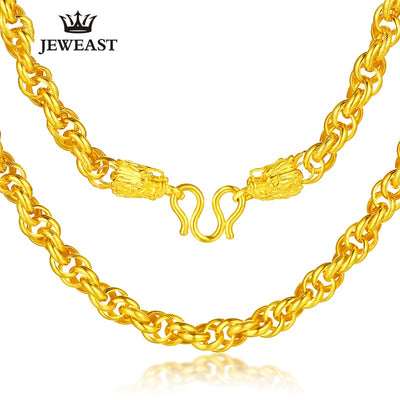 24K Pure Gold Necklace Real AU 999 Solid Gold Chain Generous Men's Faucet Buckle Upscale Solid Classic Jewelry Hot Sell New 2018