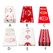 1Pc Christmas Linen Tablecloth Christmas Flag Home Party Decorative Elk Tapestry Red Table Runners Covers