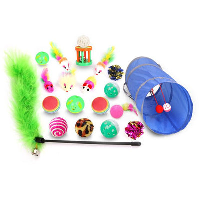 10/15/17/20pcs Pet Cat toy Set Cat Feather Toys Teaser Wand Pet Ball Rings Interactive Products Cat Tunnel Toy Telescopic Rod
