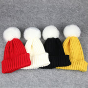 Baby Kids Pom Pom Hats For Boys Skullies Beanies Cute Hat Candy Winter Knitted Warm Cap Child Beanie Girls Thick Wool Ball Caps