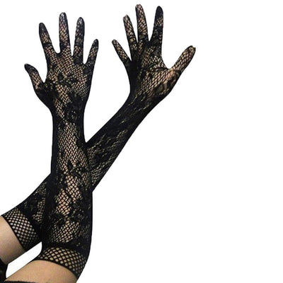Finger Women Sexy Floral Opera Long Lace Stretchy Gloves