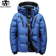 MIACAWOR New Top quality 90% Duck Down Jacket Men Coat Thick Snow Parka Hooded Warm Winter Jacket Male Outerwear J492