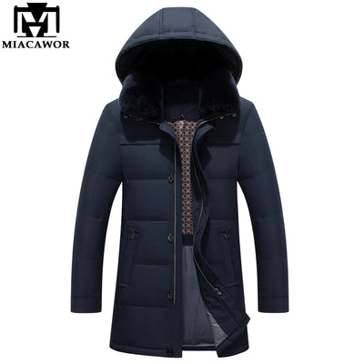 MIACAWOR New 2018 Men's Down Jacket Hooded Warm Winter Jacket Thick Business Casual Snow Men Parka Outerwear J516