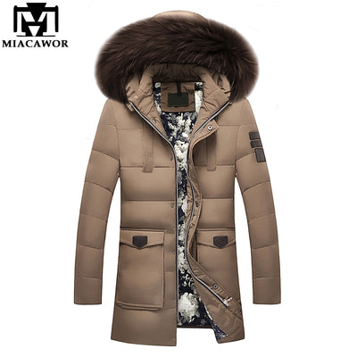 MIACAWOR New -20 Degree Warm Winter Jacket Duck Down Jacket Thick Snow Parka Hooded Casual Down Coat Windproof Outerwear J506