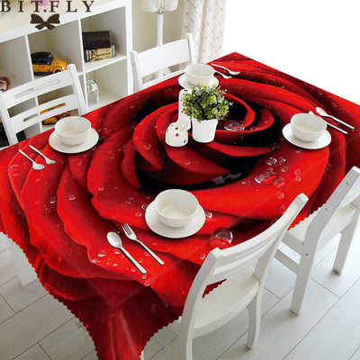 Home decoration 3D table cloth wedding rose flower table cover Merry Christmas table cover party dinner decoration table cover