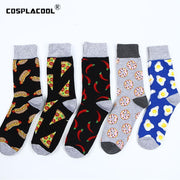 Cool Hip Hop Funny Pizza Men Socks Street Pattern Egg Hot Dog Happy Socks Unisex Harajuku Divertidos Skateboard Chaussette Homme