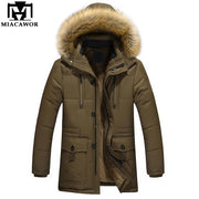 MIACAWOR New Winter Jacket Warm Men Parka Thick Hooded Fur Collar Winter Coat Windbreak Overcoat Male Clothes Plus Size 5XL J495