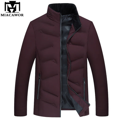 MIACAWOR New 2018 Autumn Winter Men Jacket Casual Cotton-padded Jacket Warm Men Parka Outwear Men's Coat Clothes J469