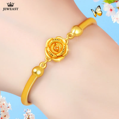 24K Pure Gold Bracelet Real 999 Solid Gold Bangle Solid Beautiful Rose Romantic Trendy Elegant Classic Jewelry Hot Sell New 2018