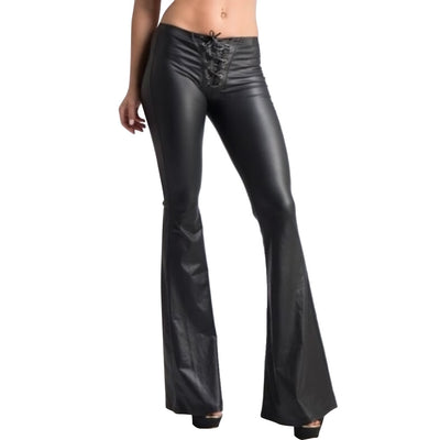 Fashion Womens Lace Up Slim Fit Trousers Female Flared Bell-bottom PU Leather Pants
