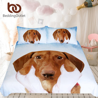 BeddingOutlet Dachshund Sausage Duvet Cover Set 3d Printed Cute Puppy Bedding Set Queen Blue Sky Brown Dog Kids Bedclothes 3pcs
