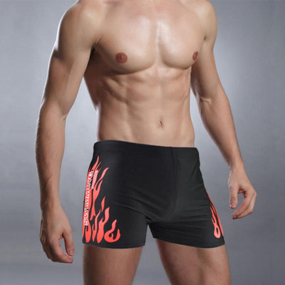 2018 New Arrivie Swimwear Men Swimming Trunks Hot Swimsuits Boxer Shorts Flame Print Swim Suit Beach Shorts Wear