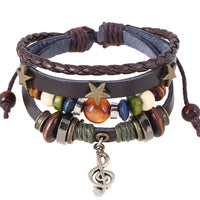 Cool Leather Rope Wrap Bracelet for Men Women Rock Punk Jewelry Vintage Adjustable Layered Beads Charm Music Note Bracelets