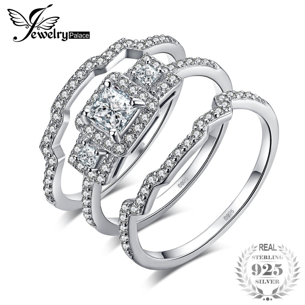 JewelryPalace 3 Stone Princess Cut CZ Anniversary Promise Wedding Band Engagement Ring Bridal Sets 925 Sterling Silver