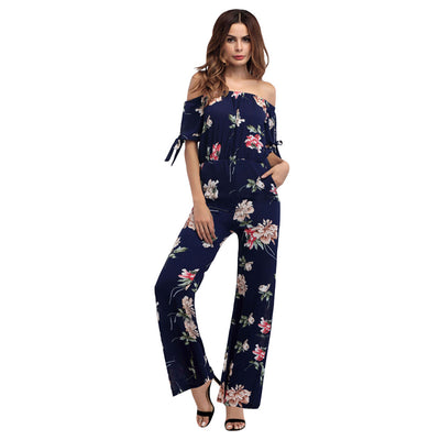 Women Summer Sexy Chiffon Off Shoulder Tube Top Printed Jumpsuit Floral Wide Leg Romper