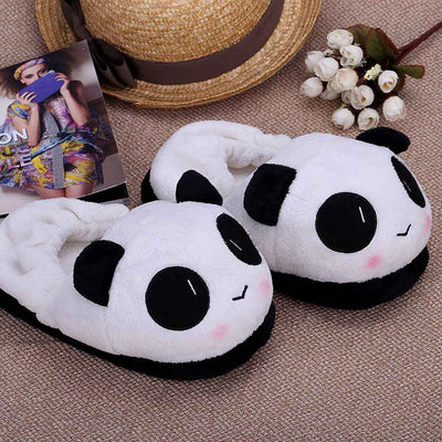 Anself Indoor Novelty Slipper for Lovers Winter Warm Slippers Lovely Cartoon Panda Face Soft Plush Household Thermal Shoes 26cm / 10.24in