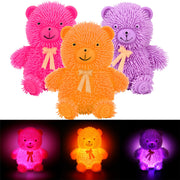 12CM Novelty Flashing Light Puffer Bear Squidgy Sensory Toy Activity Play Ball
