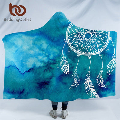 BeddingOutlet Watercolor Dreamcatcher Kids Hooded Blanket Sherpa Fleece Wearable Blanket Blue Pink Purple Home Textiles for Sofa