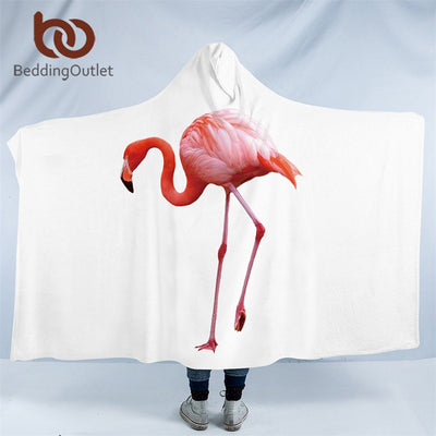 BeddingOutlet Flamingo Hooded Blanket Tropical Sherpa Fleece Wearable Blanket Floral Kids Adults Throw Blanket Home Textiles