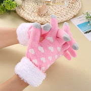Women Winter Warm Heart Pattern Thick 3 Fingers Touch Screen Knit Stretch Glovess
