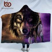 BeddingOutlet Wolf Collection Hooded Blanket Wolves Painting Sherpa Fleece Wearable Blanket for Adults Kids Galaxy Throw Blanket