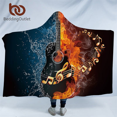 BeddingOutlet Fire And Water Hooded Blanket 3D Guitar Sherpa Fleece Wearable Blanket Adults Musical Instrument Throw Blanket