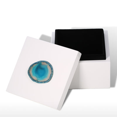 Square Jewel Box (Blue Agate-Small Size) Agate Decoration Wooden Ring Necklace Storage Box Birthday Gifts for Women Black Velvet