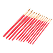 12Pcs Round Tip Nylon Hair Paint Brush Set Wooden Handle Water Color Gouache Acrylics Oil Painting Tool Red