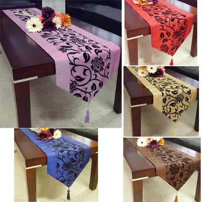 Simple Modern Chameleon Table Flag Dinner Runner Placemat Flocking Tablecloth Home Supplies Blue Purple Champagne Coffee Red