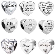 2018 new free shipping european 1pc 925 silver heart i love you nan mom sister dad diy bead fit pandora charm bracelet D044