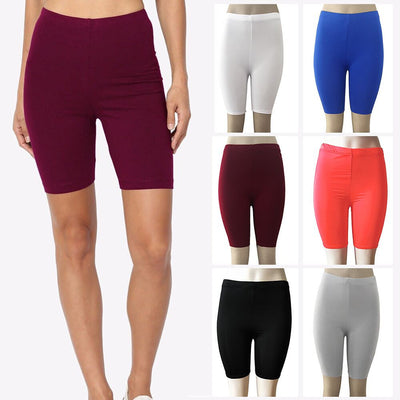 Women Fashion Solid High Elasticity Leggings Gym Active Pants Cycling Shorts