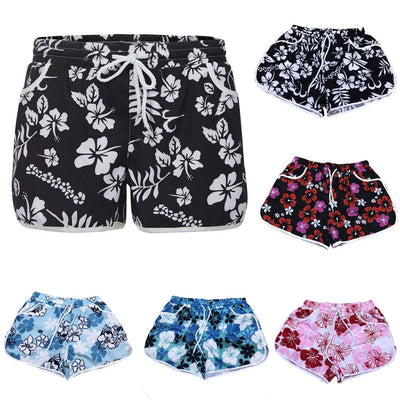 Fashion Women Summer Floral Beach Short With Drawstring Workout Yoga Hot Shorts