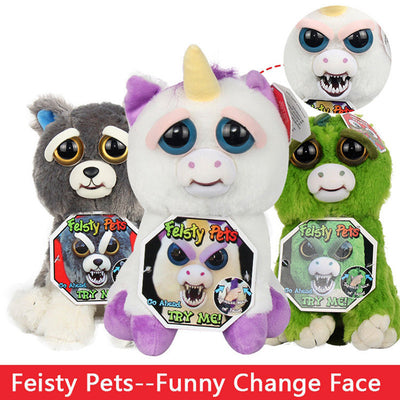 New Feisty Pets Roaring Angry Toy Children gift Change Face Stuffed Animal Doll Plush Toys for kids Cute Prank toy