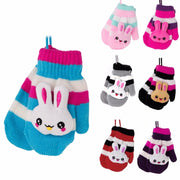 Children Gloves Hanging Knitted Character Rabbit Winter Cute Mittens Warm