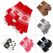 Unisex Winter Warm Snowflake Print Thick Touch Screen Knit Stretch Glovess