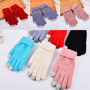 Unisex Winter Warm Solid Thick Touch Screen Knit Stretch Glovess For Men Women