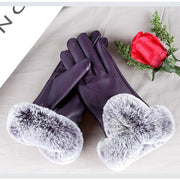 KLV Women Winter Warm Faux Leather Touch Screen Faux Rabbit Fur Cuff Gloves Elegant