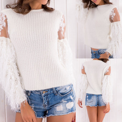 Women Ladies Casual Tassel  Lace T-Shirt Long Sleevel Tops Blouse WH/XL