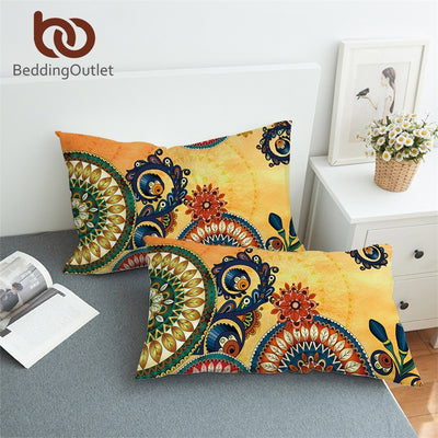 BeddingOutlet Kaleidoscope Pillowcase Bohemian Pillow Case Mandala Flowers Kids Adults Bedding Ethnic Pillow Cover 50x75cm