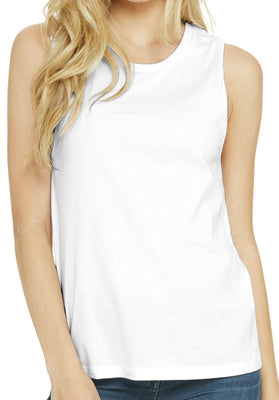 Ladies Muscle Yoga Tank, White
