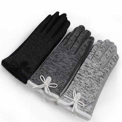 Hot Women's Winter Cotton Wool Wrist Gloves Elegant Warm White Plush Bow Glove Mittens Cashmere Christmas Gift Mitaine Guantes