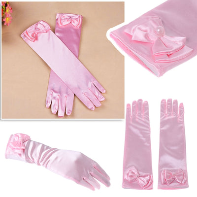 KLV Kids Long Gloves Bow Knot Girls Prom Finger Satin Elbow Costume Princess Sleeves